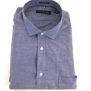 Tommy Hilfiger Men's Regular Fit Dress Shirt Navy